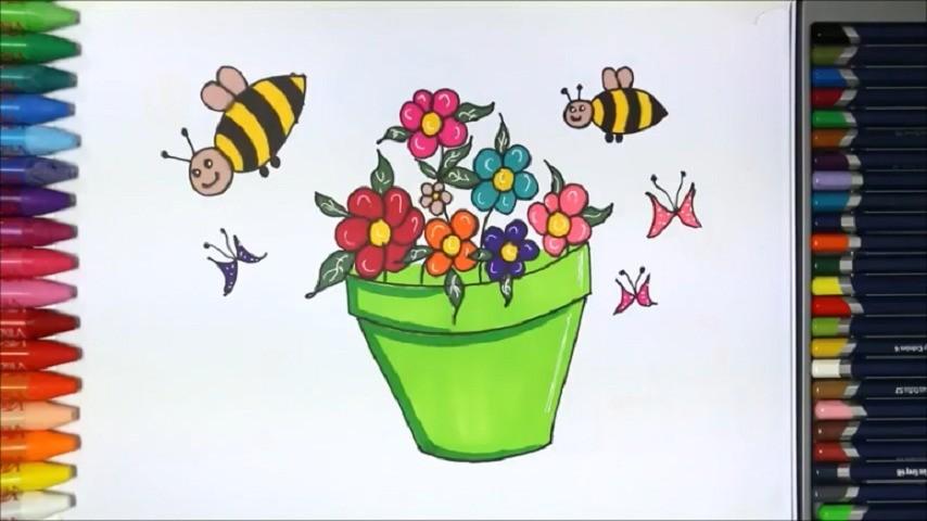 Menggambar Bunga Dalam Pot Belajar Gambar Dan Mewarnai Vidio Com