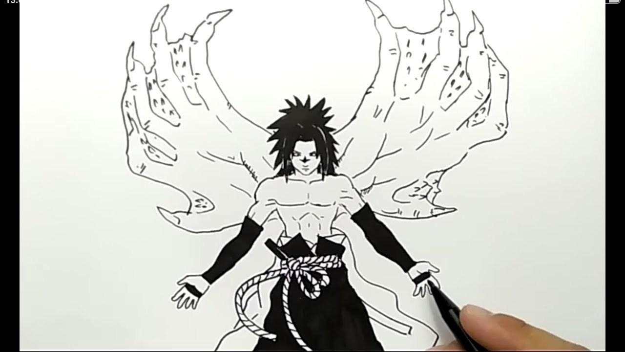 Cara menggambar sasuke demon lansung spidol cepat dan mudah banget