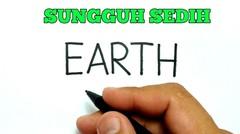 belajar cara menggambar kata EARTH menjadi bumi yang sedang rusak karena manusia