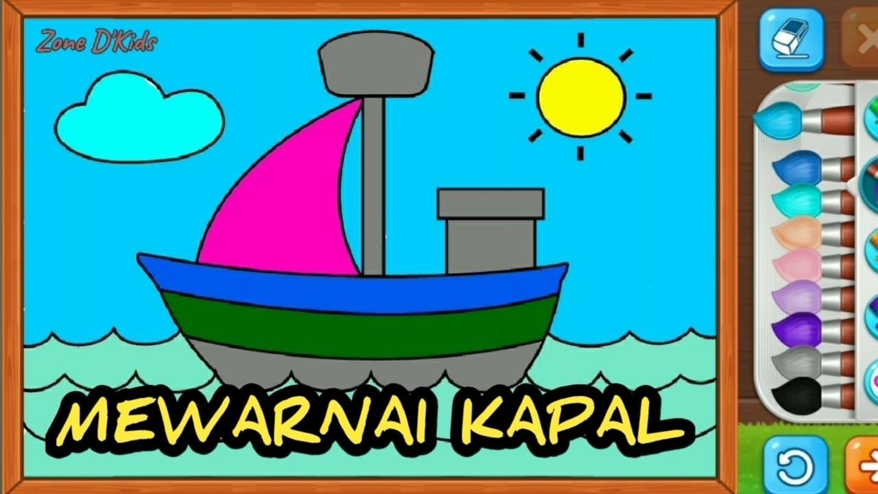 Belajar Menggambar Dan Mewarnai Kapal Laut Untuk Anak TK Dan PAUD 7