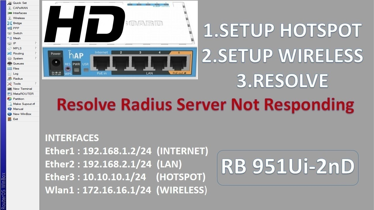 Mikrotik RB 951Ui-2nD (HOTSPOT,WIRELESS,RADIUS) SOLVED