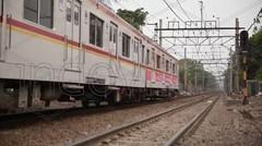 Di dalam bis kota , area kampung kumuh Jakarta - stock footage