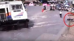 Suicide at a train crossing , this incident there in Bandung Indonesia