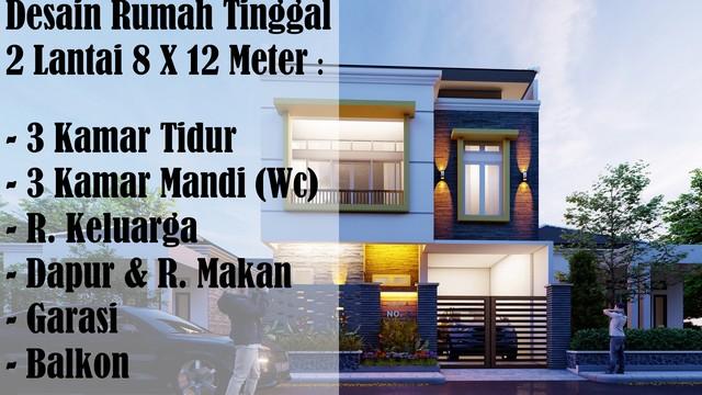 Desain Lantai Garasi Rumah Minimalis  desain rumah tinggal minimalis 2 lantai 8 x 12 meter