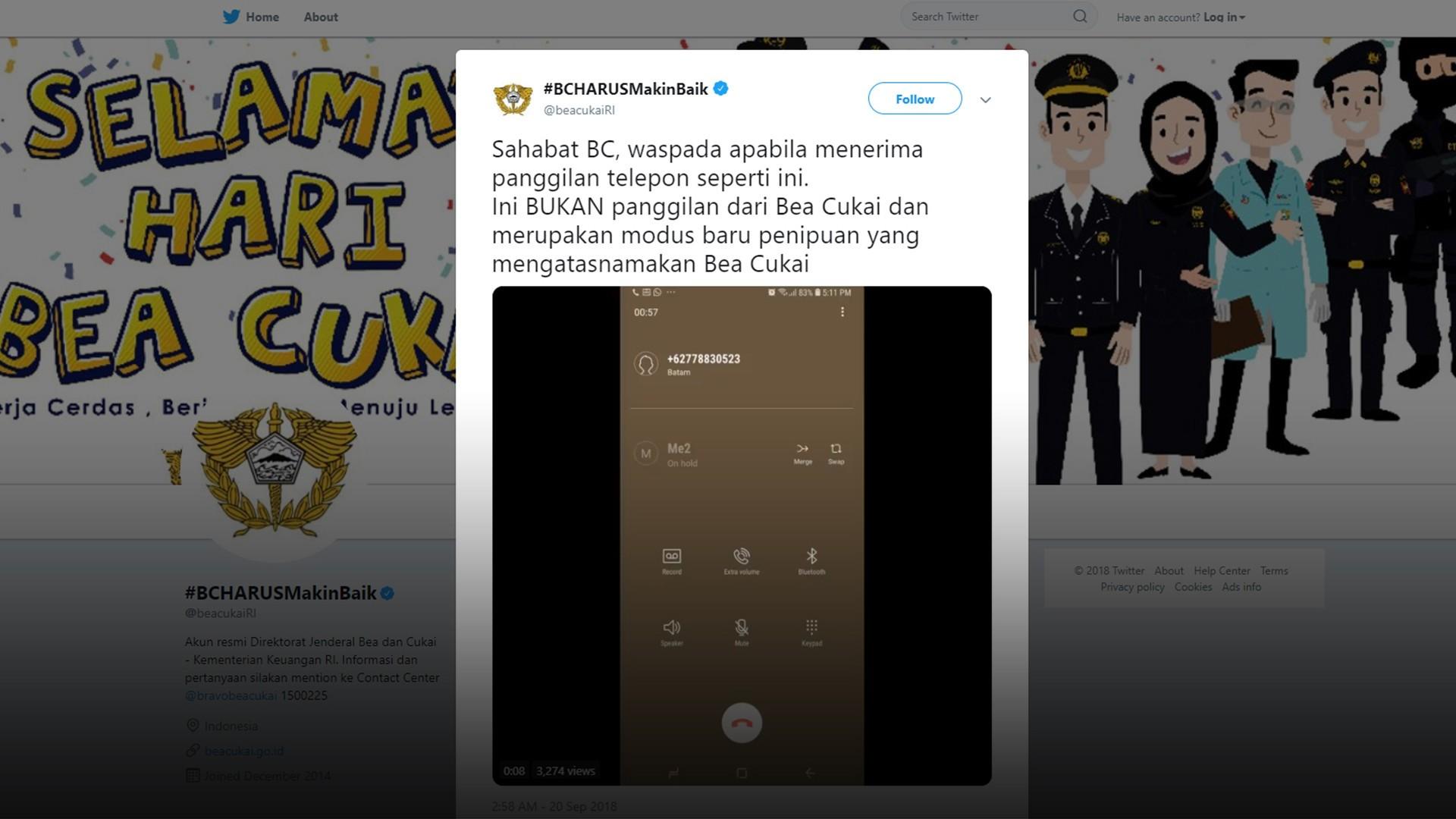 Waspada Penipuan Via Telepon Atas Nama Bea Cukai Vidio Com