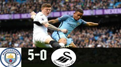 Manchester City 5 - 0 Swansea City Highligts & Goal