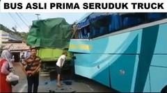 Mobil Bus Asli Prima Seruduk Teronton di Atas Tol Merak