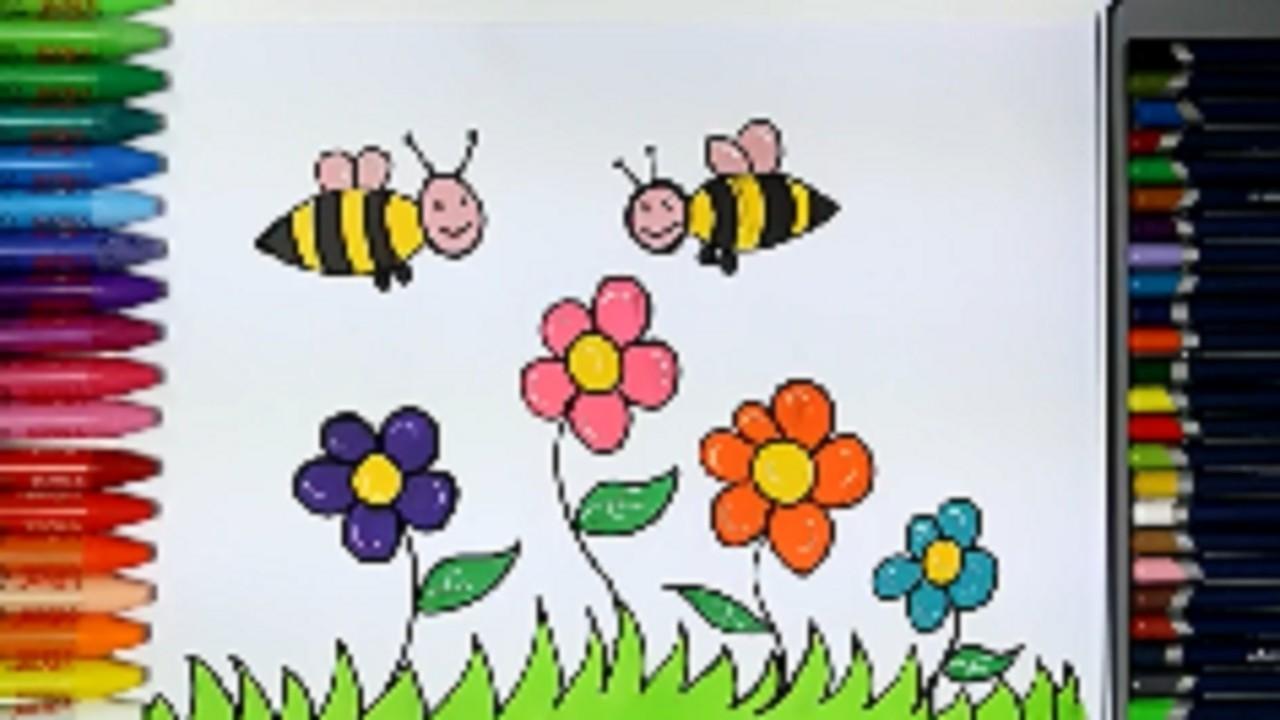 Menggambar Bunga Dan Lebah Belajar Gambar Dan Mewarnai