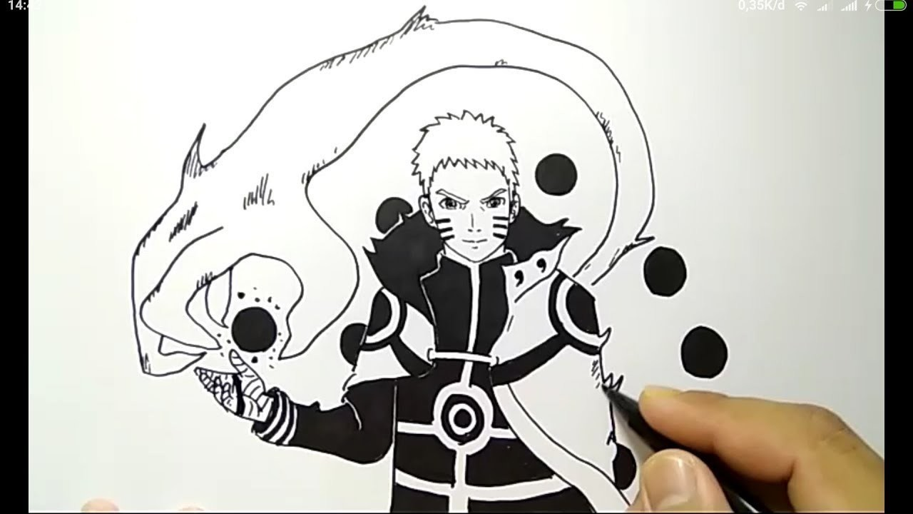 Cara Menggambar Naruto Kyubi Mode Super Gampang How To Draw Naruto Easy Way