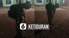 Penuh Perjuangan, Anggota TNI Ketiduran Saat Apel Sambil Berdiri