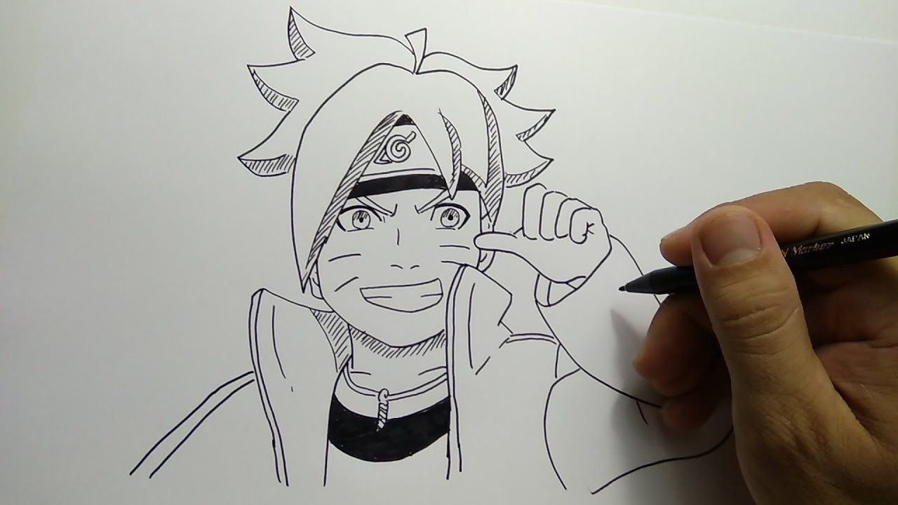 Cara Menggambar Boruto Anak Naruto