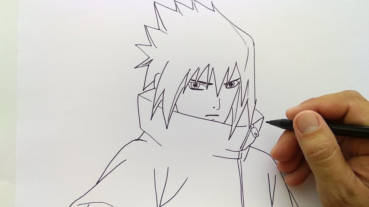 Cara Menggambar Sasuke Simple Dan Mudah