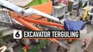 Excavator Terguling Menghantam JPO