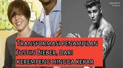 Transformasi penampilan Justin Bieber, dari kerempeng hingga kekar.