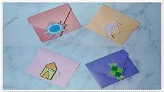 Amplop idul fitri bentuk kotak sederhana dari kertas origami