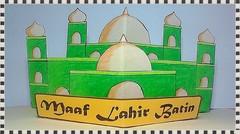 Kartu Ucapan Lebaran Masjid Bertingkat Pop up card - Lanjutan