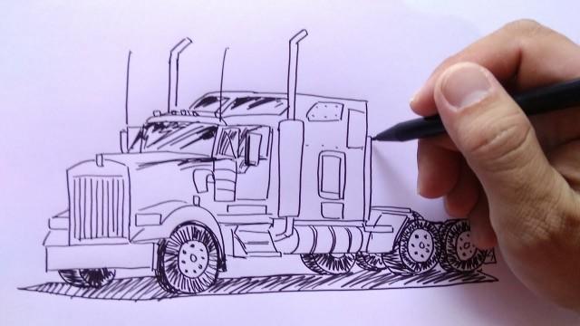 cara menggambar mobil truk trailer - Vidio.com