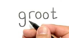 WOW, belajar cara menggambar kata GROOT menjadi gambar KEREN