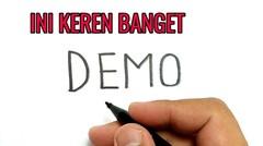 Cara Menggambar kata DEMO menjadi gambar mahasiswa yang KEREN !