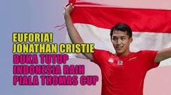 Euforia!! Jonathan Crishtie Buka Tutup Indonesia Raih Piala Thomas Cup   Status Selebritis