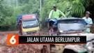 Miris! Akses Utama Jalur Perekonomian di Lampung Barat Berlumpur, Sopir Kesulitan Mengemudi Kendaraannya