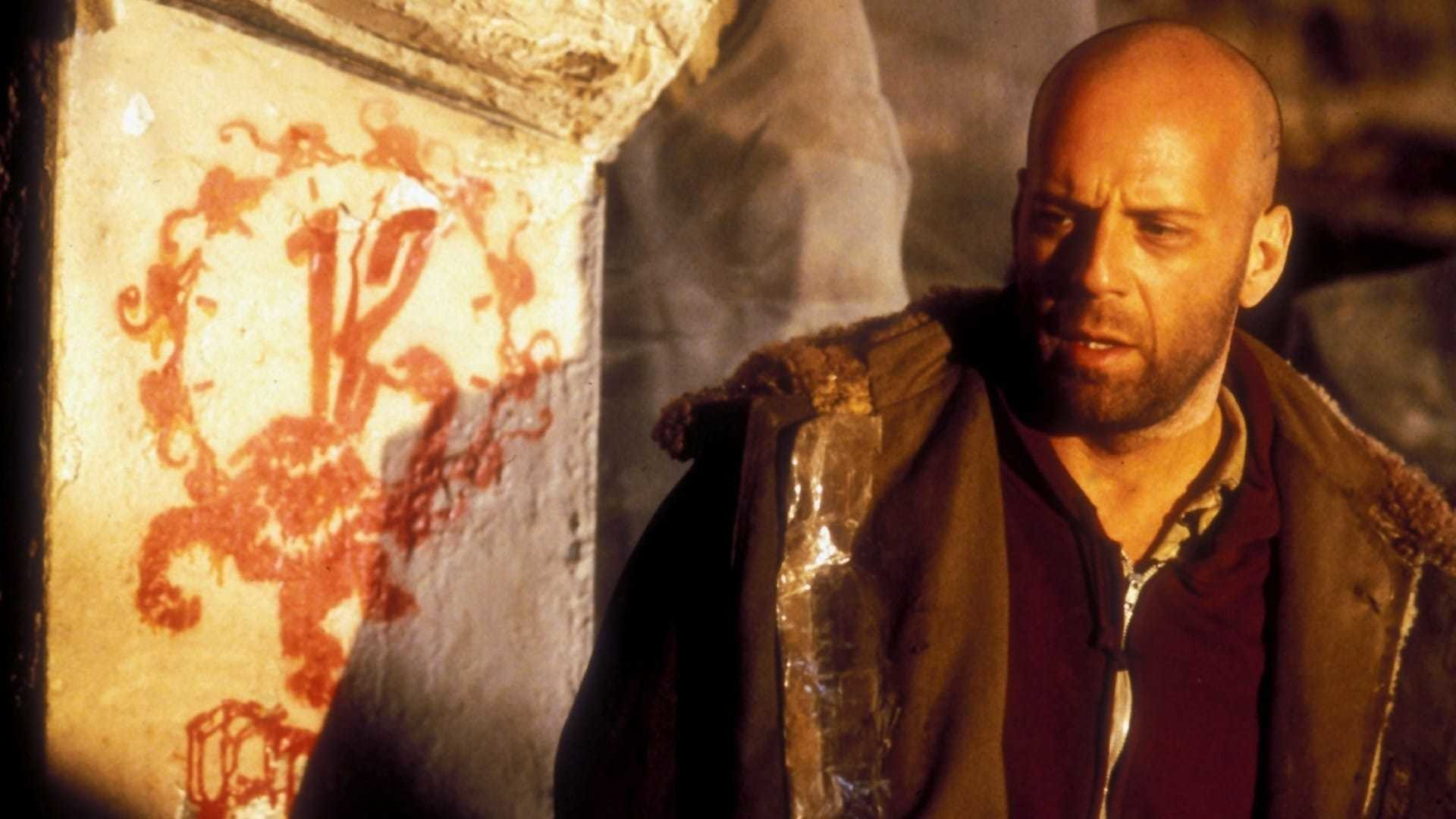 "Bruce Willis plays a time-travelling convict in ""12 Monkeys""."