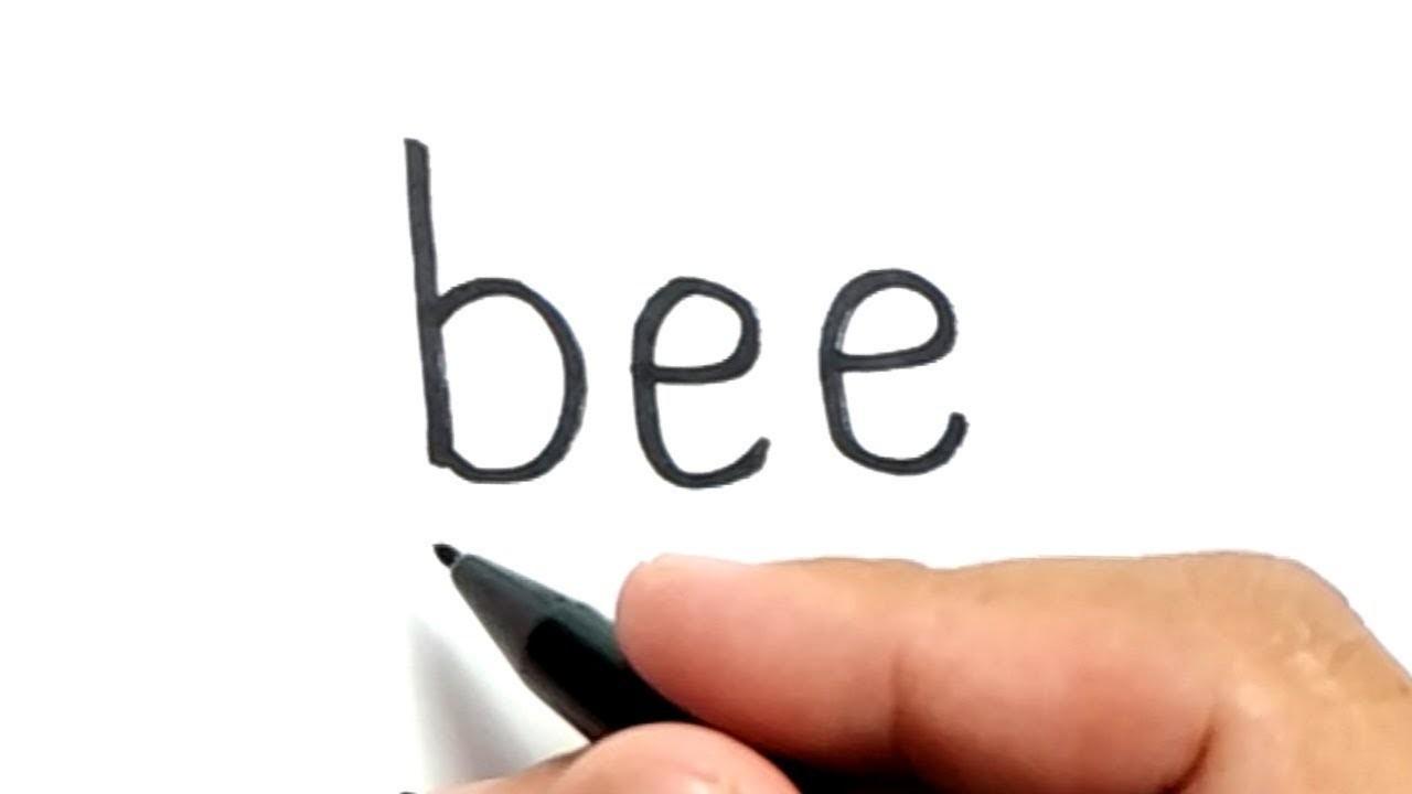 LUCUNYA Cara Menggambar Kata BEE Menjadi Gambar Kartun Lebah Imut
