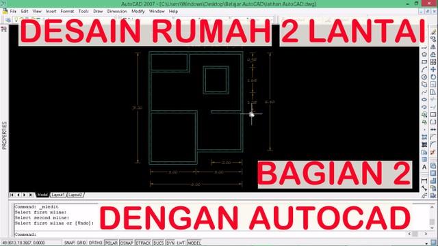 Desain Rumah 2 Lantai Dwg  menggambar rumah 2 lantai dengan autocad ep02 membuat dinding