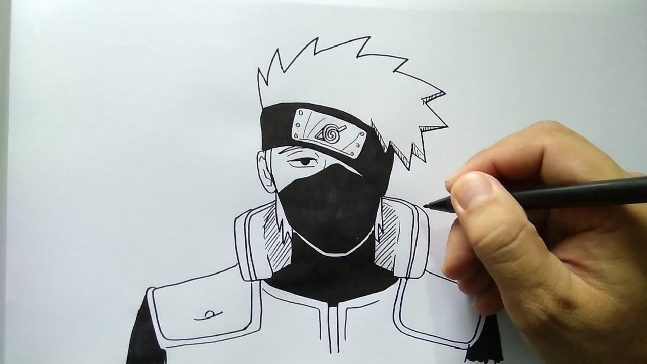 Cara Menggambar Kakashi Naruto Dengan Mudah
