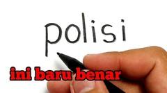 WOW, belajar cara menggambar kata POLISI jadi kartun keren
