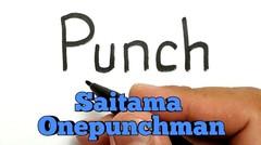 WOW, belajar cara menggambar kata PUNCH menjadi gambar SAITAMA ONEPUNCHMAN KEREN
