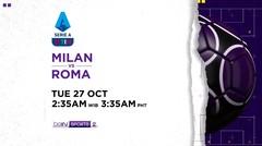 Milan vs Roma- Selasa, 27 Oktober 2020 | Serie A 2020