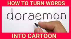 WOW, menggambar doraemon dengan kata DORAEMON, / how to turn words DORAEMON into CARTOON