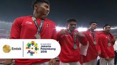 Inilah Momen Pengalungan Medali Perak Asian Games 2018 Tim Estafet 4X100 M Indonesia
