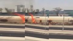 Breaking News..Suhu di Kuwait mencapai 62C.Semak-semak dan pohon terbakar dengan sendiri nya