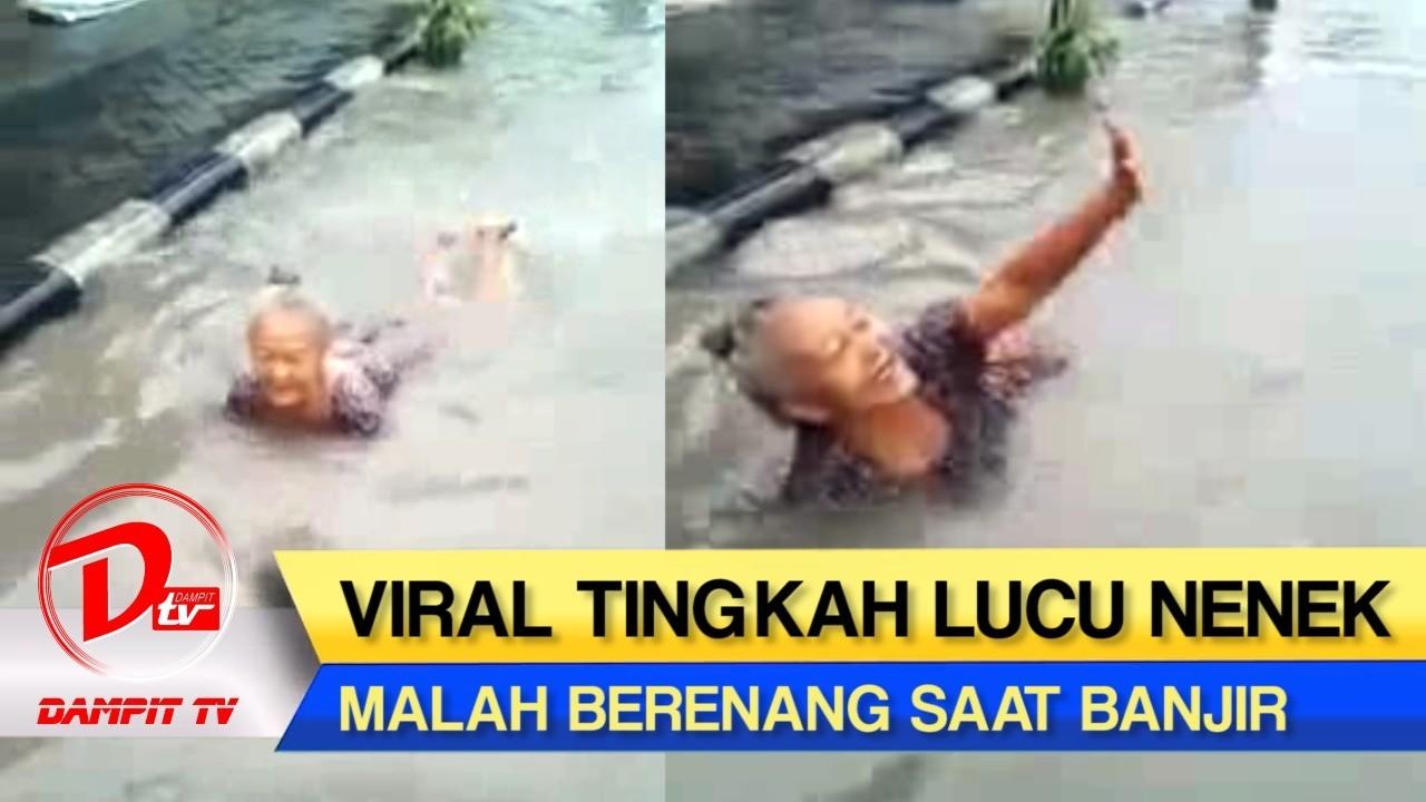 KOCAK Nenek Ini Malah Asyik Berenang Saat Banjir Wkwkwkwk
